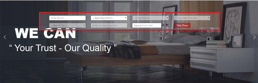 thanh công cụ được tích hợp chính giữa banner